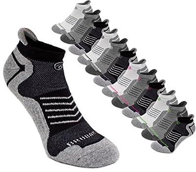 BRUBAKER Unisex Cushion Low Cut Running & Athletic Performance Tab Socks - 6 Pairs - Various Colors