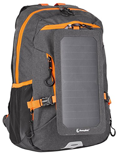 SunnyBAG Solar Panel Backpack| Laptop Carrier with Solar Charger| 6 watts USB Charger Backpack| Power-Back Pack for Mobile Phones and Laptop| for Men and Women| Black/Orange by Sunny Bag