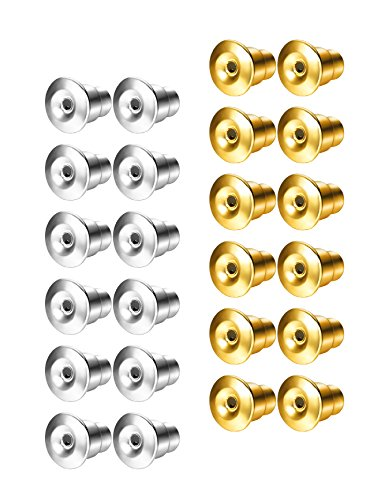 Udalyn 24 Pcs Replacement Earring Backs Stainless Steel Earring Accessories for Screw-Back Stud Earrings Style 1