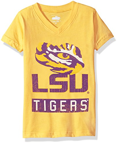 NCAA LSU Tigers Children Girls V-Neck Short sleeve Tee,5,Bold Gold (Bold Tigers)