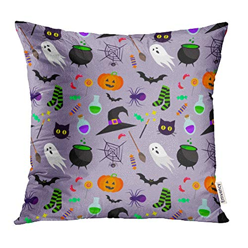 (Emvency Decorative Throw Pillow Case Cushion Cover Blue Cute Halloween Pattern Green Spooky Sweet Treat Trick Autumn Bat Black 16x16 Inch Cases Square Pillowcases Covers Two Sides)