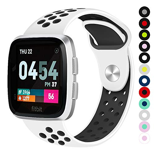 Compatible for Fitbit Versa | Soft Silicone Replacement Sport Band for New Fitbit Versa Smart Watch (White/Black, Large)