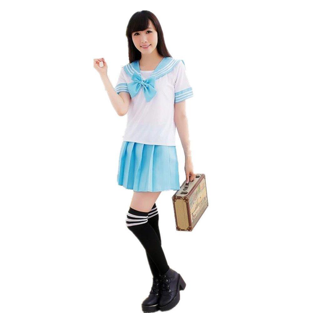 Vestido Encantador Del Traje Del Uniforme de La Escuela Uniforme Para la Criada de la Muchacha (M, Azul 1)