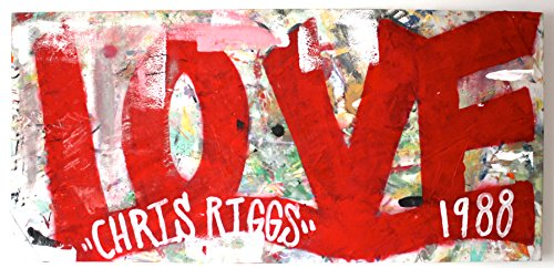CHRIS RIGGS Original Love painting 60 x 29 pop street art hearts spray paint NYC acrylic contemporary modern art urban fine art canvas
