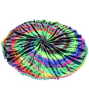 yjydada redonda impresión hippie tapiz playa Picnic manta Yoga Mat Toalla Manta