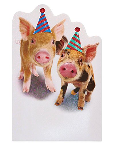 Pig Birthday Card - American Greetings Funny Pigs Birthday Card with Foil