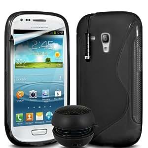 ONX3 4-IN-1 BUMPER SET REGALO - Samsung Galaxy S3 i8190 Mini Negro S line Wave Gel caso de la piel cubierta + Negro 3.5MM portátil Mini altavoz de la cápsula + Negro Mini capacitivo Stylus Pen + LCD Protector de pantalla