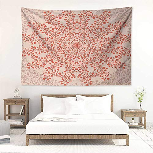 alisos Red Mandala,Tapestries for Sale Rural Meadow Wild Flowers Twigs and Blooms Round Bouquet Corsage Design 72W x 54L Inch Mattress, Tablecloth Red and Peach