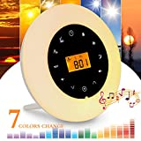 Wake Up Light,Elfeland Radio Alarm Clocks LED Bedside Lights Touch Control Night Light Sunrise & Sunset Simulator Mode 6 Nature Sounds &7 Colors Light Modes FM Radio Function Snooze Function Phone Music Cable 10 Dimming Brightness Levels Night Lamp Ideal for Home, Bedroom & Gif