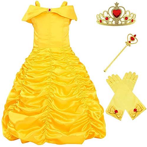 Meisjes Gele Belle Jurk Prinses Kostuum Off Shoulder Fairy Tale Feestjurken (5 jaar)