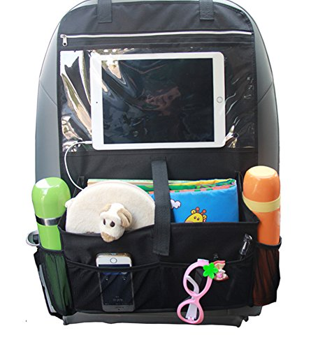 Misslo-Car-Back-Seat-Organiser-Multi-Pocket-Travel-Storage-With-Touch-Screen-iPad-Holder-Black