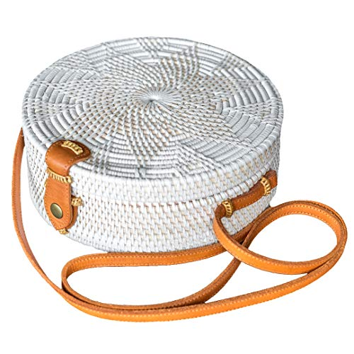 Bali Harvest White Round Woven Ata Rattan Bag Linen Inside and Flower Pattern (with Genuine Leather Strap) (White)