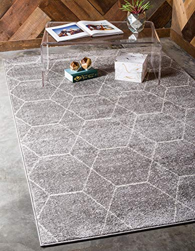 Unique Loom Trellis Frieze Collection Lattice Moroccan Geometric Modern Light Gray Area Rug (5' 0 x 8' 0) (Moroccan Area Rug Pattern)
