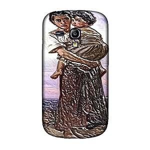 William Adolphe Bouguereau - Young Gypsies, Embossed Caso Carcasa Funda de Duro Gel TPU Protección Case Cover, Diseño con Textura en Relieve para Samsung S3 Mini i8190.