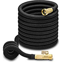 Hospaip 50ft Garden Hose - ALL NEW Expandable Water Hose with Double Latex Core, 3/4 Solid Brass Fittings, Extra Strength Fabric - Flexible Expanding Hose with Storage Bag for Easy Carry by