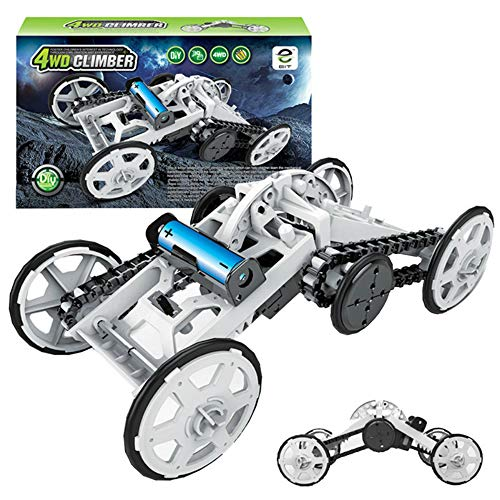 Mefashion STEM 4WD DIY Climbing Car Vehicle Electric Mechanical Assembly Intro to Engineering Circuit Building Projects for Kids and Teens | DIY Science Experiments Using Real Motor (White)