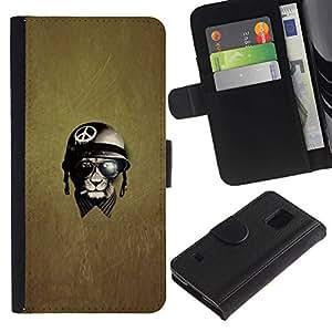 For Samsung Galaxy S5 V SM-G900,S-type® War Peace Veteran Warrior - Dibujo PU billetera de cuero Funda Case Caso de la piel de la bolsa protectora