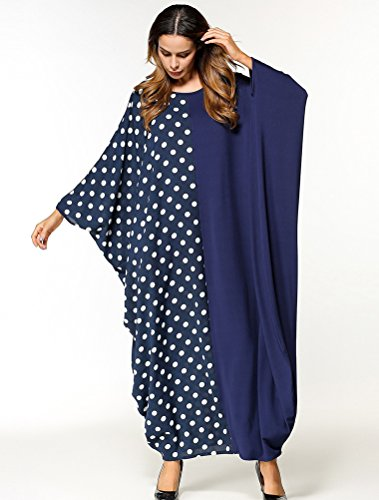 bb786e6719c7a9 ... Matchlife Bat Style7-blau Mittelalter Ärmel Kleid Kleider Lang  Leinenkleid Damen Maxi Kimono Tunika Kaftan ...