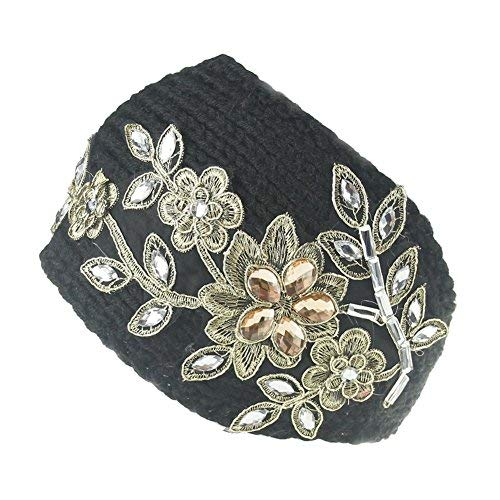 Hustar Women Winter Rhinestone Flower Crochet Headband Knit Hair Band Ear Warmer Turban Headwrap Black