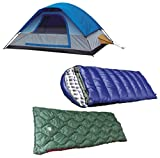 Alpinizmo High Peak USA Magadi 5 Tent + Kodiak 0F and Ranger 20F Sleeping Bag Combo Set, Blue/Green, One Size
