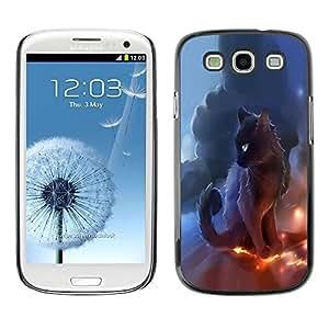 LECELL -- Funda protectora / Cubierta / Piel For Samsung Galaxy S3 I9300 -- Black Thunder Cat --