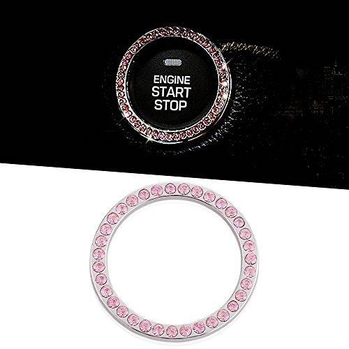 1Pcs Car Decor Crystal Rhinestone Car Bling Ring Emblem Sticker  Bling Car Accessories For Auto Start Engine Ignition Button Key   Knobs  Bling For Car Interior  Unique Gift For Women Pink