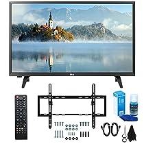 LG 28LJ430B-PU 28 Class HD 720p LED TV (2017 Model) with Slim Flat Wall Mount Kit and Professional Screen Cleaning Kit