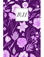 2022: Weekly Diary A5 Week to View on 2 Pages Planner | Horizontal Layout WO2P Lined Journal | Bright Purple Flowers Pattern