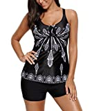 Blugibedramsh Tankini Swimsuits for Women Retro 2 Piece Printed Bathing Suits Black (L)