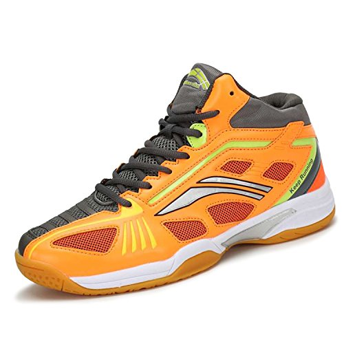 Chaussures Hommes Katliu Femmes Salle En Mesh Respirant Badminton De Fitness Sport Tennis Volley-ball Squash D'orange