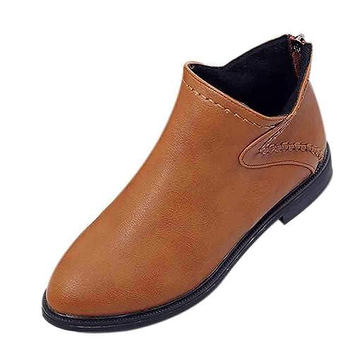 82183a40c0b14 Bottes de Neige,Subfamily Femme Hiver Ankle Boots Bottines à Talon Bas Boots  Intérieur Chaude Confortable Zippé Bottes Classiques Bottines en Cuir Bottes  ...