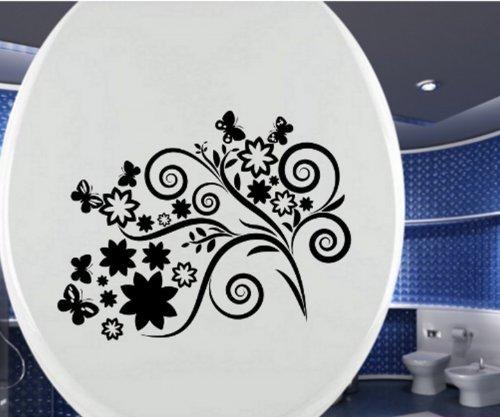 Adhesivo Tapa de Inodoro Mariposa Toilets Cirrus Flor Flores ...