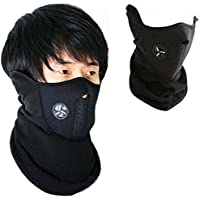 Autoridez Men's Fabric Face Mask for Bikers Dust Protection (Black)