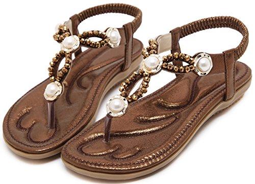 Bohemia Sandalias Para Mujer Sole suave Bling Diamantes Sandalias de Correa Elástica De BIGTREE Marrón