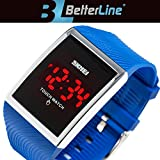 Better Line Children's Digital LED Waterproof Watches Wrist Touch Screen - Unisex - Water Resistant Watches for Boys and Girls (blue)