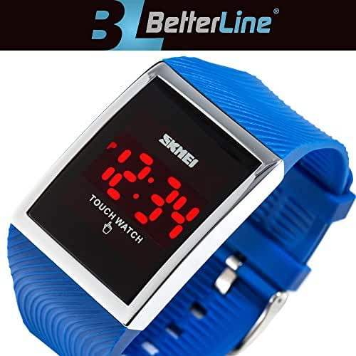 Better Line Children's Digital LED Waterproof Watches Wrist Touch Screen – Unisex – Water Resistant Watches for Boys and Girls (blue)