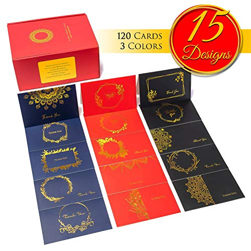 Thank You Cards With Envelopes -120 Note Cards 15 Gold Designs On Black Red And Blue -Blank Cards With Envelopes -Bulk Business Notes For Wedding Bridal Shower Birthday Baby Shower Thank You Cards ()