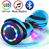 TOMOLOO Music-Rhythmed Hoverboard for Kids and Adult Two-wheel Self-balancing Scooter- UL2272 Certificated with Music Speaker- colorful RGB LED light