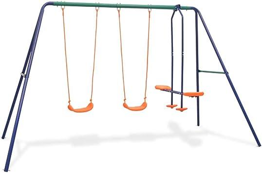vidaXL Juego de Columpios para Jardín de 4 Piezas Asientos Juguete para Niños Parque Casero Infantil de Acero y Plástico Naranja: Amazon.es: Juguetes y juegos