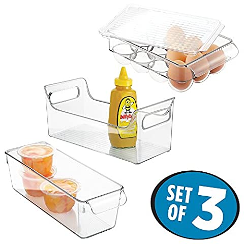 mDesign Mini Fridge Storage Containers, Set of 3 with Condiment Caddy, Egg Holder, Organizer Bin - Clear