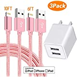 AVIOS Charger, 2.4A Dual Port USB Wall Charger Fast Charging Portable Travel Adapter w/ [2-PACK] 6FT/10FT Braided Cable Compatible with iPhone X/8/7/6S/6/Plus/5SE/5S, iPad, iPod & More - PINK