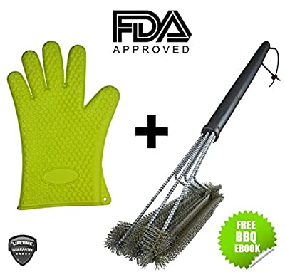 "Best BBQ Grill Brush + Heat Resistant Silicone Kitchen Glove Set. 18"" w/ 3 Stainless Steel Barbecue Brushes Smoker Cleaner Outdoor Cooking Tools with Protective Grilling Oven Mitts Utensils from Tevelo"