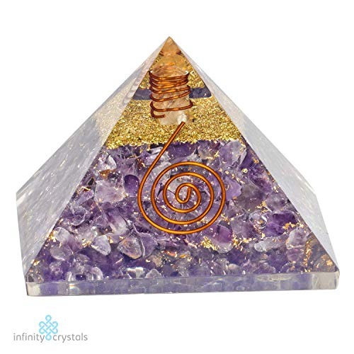 (PURE Healing Chakra Amethyst Orgone Pyramid for Emf Radiation Protection/Orgonite Blocker With Gold Glitter & Quartz Point for Balancing 7 Chakras, Yoga Rituals, Meditation & Instant Stress Relief)