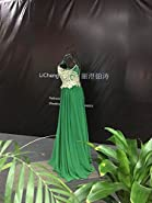 LiCheng Bridal Lace Applique Embroidery V Back High Neck Long Chiffon Evening Prom Dresses