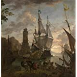 Canvas Prints Of Oil Painting ' Hendrik Van Minderhout - Oriental Seaport, 17th Century ' , 24 x 25 inch / 61 x 63 cm , Polyster Canvas Is For Gifts And Dining Room, Kitchen And Living Room Decoration