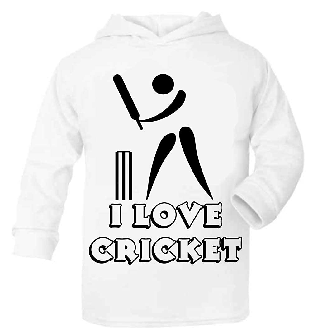I Love Cricket Baby//Toddler Hoodie can be Personalised Size 1-2 Years White