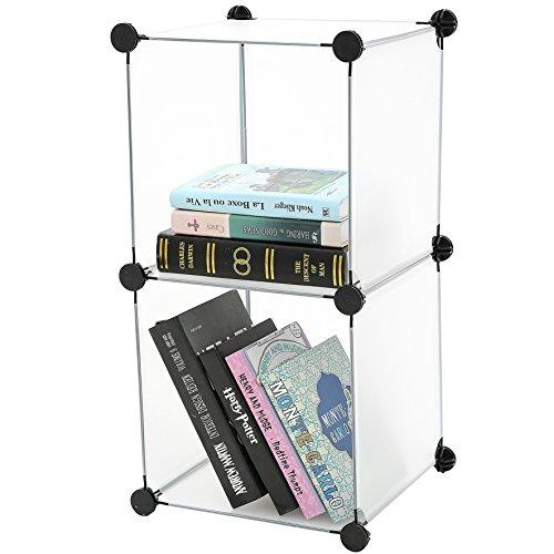 C&AHOME – DIY Bookcase Storage Organizer, Clothes Cabinet Cube of 2, Translucent