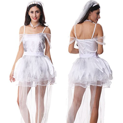 [NonEcho Women's Bride Zombie Costume for Halloween Party Night] (Xl Ghostly Gal Adult Costumes)