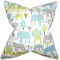 "The Pillow Collection STD-PP-TRUNKTALES-MANTIS-C100 Carleton Animal Print Bedding Sham, Blue, Standard/20"" x 26"""