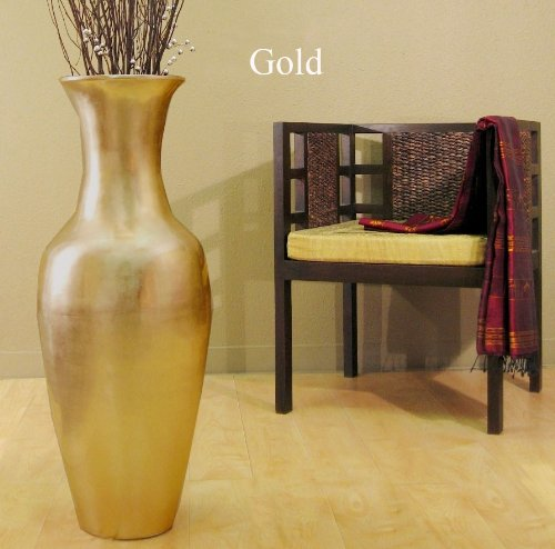 GreenFloralCrafts 36 in. Classic Bamboo Large Floor Vase - Gold
